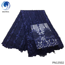 BEAUTIFICAL Dark blue mesh lace fabric with lots beads net pearl designer for wedding dress PN135
