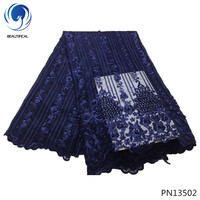 BEAUTIFICAL Dark blue mesh lace fabric with lots beads beads net lace fabric pearl designer lace fabric for wedding dress PN135