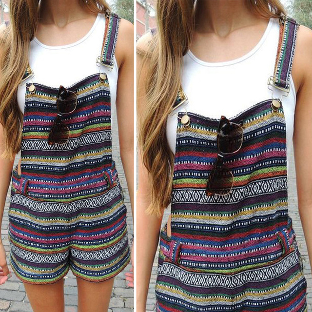 Casual Striped Carpenter Pants Short Romper