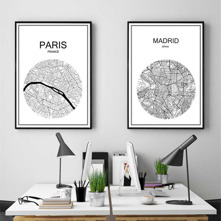 White World City map of ROME Modern poster art paper Cafe bar home living room Print Vintage Poster decor painting 42x30cm