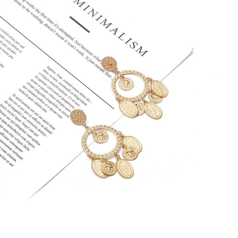 2019 New Arrive Statement Drop Earrings Hanging Dangle Metal Paillette Pendientes Fashion Trend Brincos Bijoux For Women in Drop Earrings from Jewelry Accessories