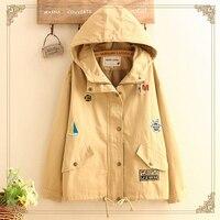 Autumn Khaki Jacket Women Hooded Embroidered Patches Basic Jackets Long Sleeve Windbreaker Zipper Jacket Coat T385