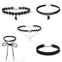 Best Deal New Fashion 10 Pieces Women Black Rope Choker Necklace Set Stretch Velvet Classic Gothic