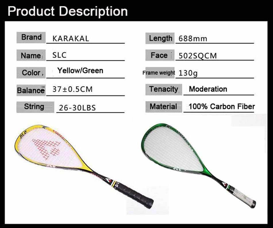 100% Carbon Squash Racket Karakal Squash Racquet With Bag Squash Paddle Raquete Squash Sport Tarining Racket Speed Padel SLC