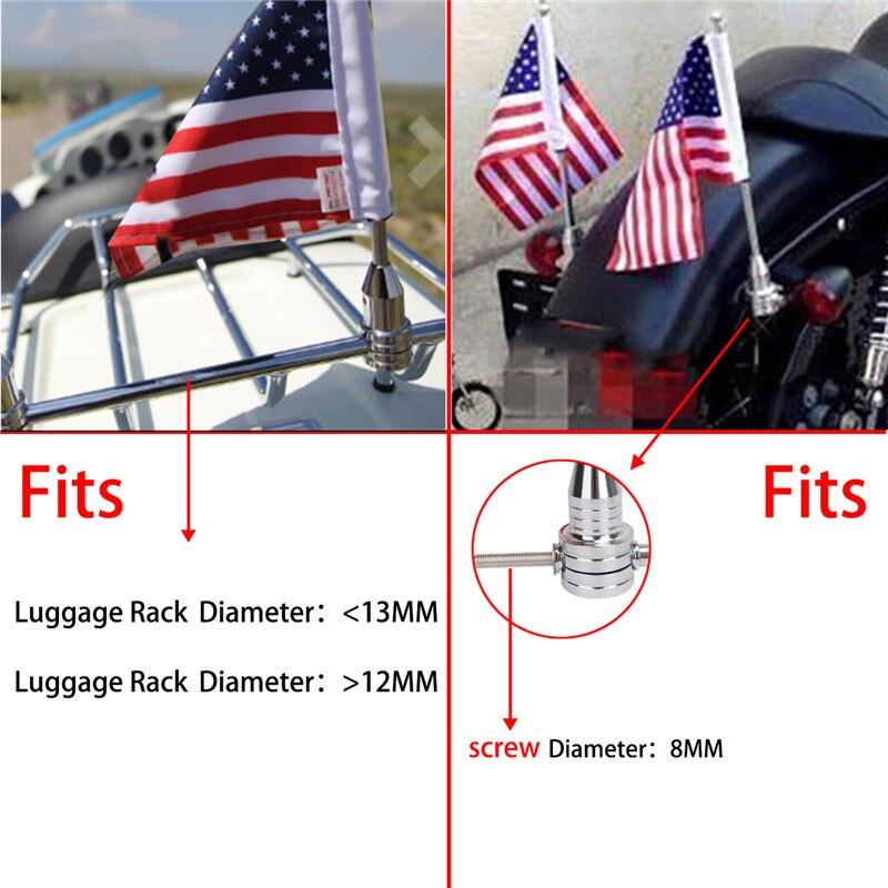 WISENGEAR Chrome Vertical Flag Pole Mount American USA Flag Holder For Harley Touring Sportster 1200 Honda Goldwing CB VTX CBR Luggage Rack (4)