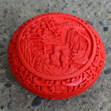 Exquisite Chinese Flower Red Cinnabar Lacquer Children and Landscape Auspicious Jewelry Box exquisite chinese flower red cinnabar lacquer beautiful flower auspicious jewelry box
