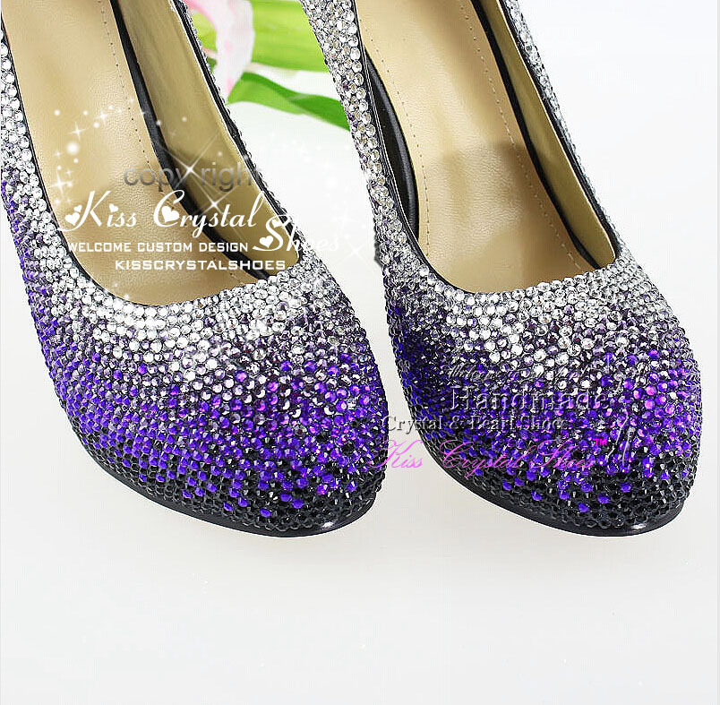 famous brand women Mixed Color Black Purple and Silver Crystals Sparkly  Wedding Shoes Designer Women Dress Shoes -in Women s Pumps from Shoes on ... e8ad7a415d8e