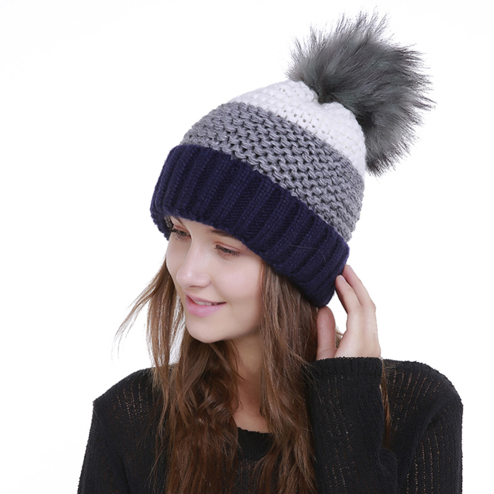 Imitation Rabbit Hair Ball Color Matching Curling Warm Women Single Layer Hat   Skullies     Beanies   Striped Hat