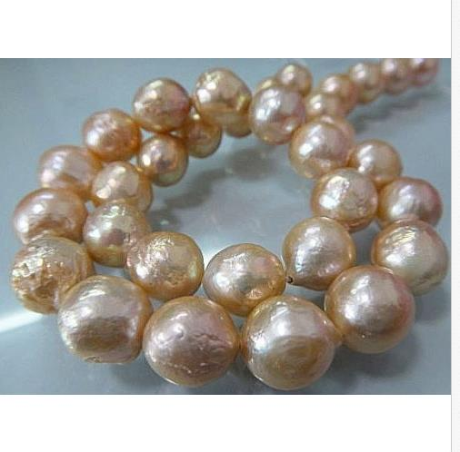 gorgeous 13-14mm south sea baroque gold pink pearl necklace 18inch 925silvergorgeous 13-14mm south sea baroque gold pink pearl necklace 18inch 925silver