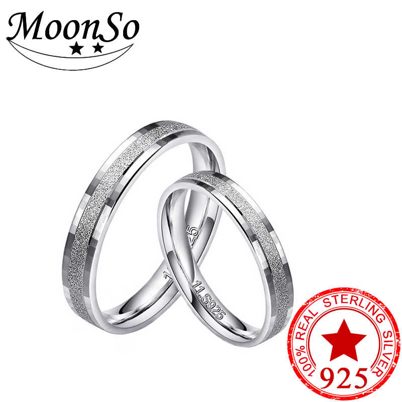 bedbf51982 S925 sterling silver couple ring men and women silver jewelry engagement  wedding set girl love jewelry