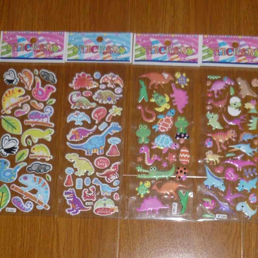 Наградная наклейка 10 шт./лот Комплексная Оптовая Продажа динозавров игрушки 3D пузырьки настенные наклейки/Детские Мультяшные наклейки с пузырьками декоративные