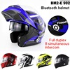 1500m 8 Way Full Duplex Bluetooth Inergrated Double Visor Motorcycle Full Face Helmet Motorbike Flip Up