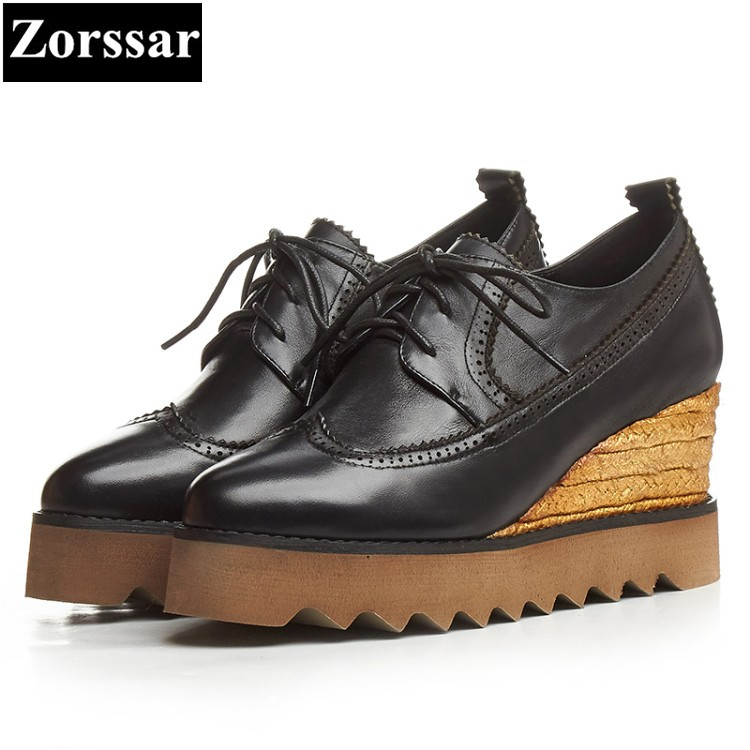 {Zorssar} high quality Genuine Leather women shoes wedges High Heels lace up fashion platform pumps womens creeper shoes green zorssar autumn ladies shoes wedge high heels women platform pumps fashion casual lace up genuine leather suede womens shoes