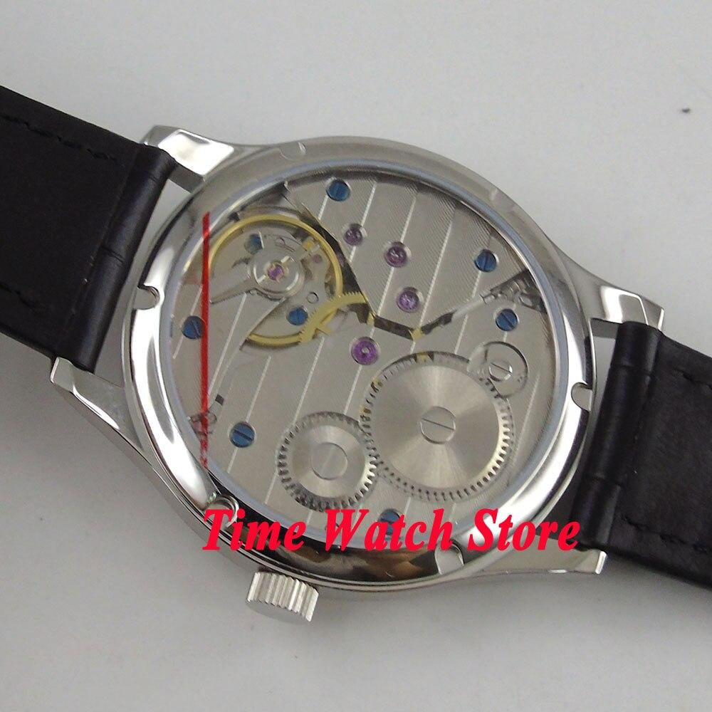 44 мм Parnis 17 jewels 6497 с ручным заводом мужские часы с белым циферблатом Синий кожаный ремешок 899 - 5