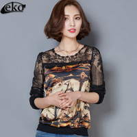 Plus Size Korean Elegant Horse Printed Tops Women Lace Blouse Shirt 2016 Long Sleeve Sexy Hollow