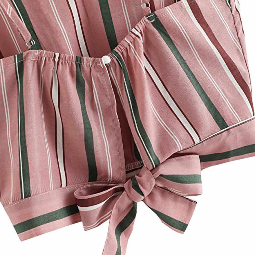 2018 новая весенняя укороченная блузка с v-образным вырезом Женская рубашка без рукавов с галстуком-бабочкой Женская Полосатая летняя укороченная верхняя одежда Moletom Feminino # EW