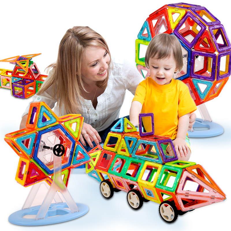 New 164Pcs Magnetic Building Blocks Models & Building Toy Magnet Plastic Technic Bricks Learning & Educational Toys For Children magnetic sticks building blocks 218pcs set intelligence toys plastic car toy educational magnet bricks kit for children kids