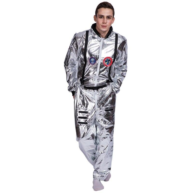 Mens adulti Argento Astronauta Costume Uniforme