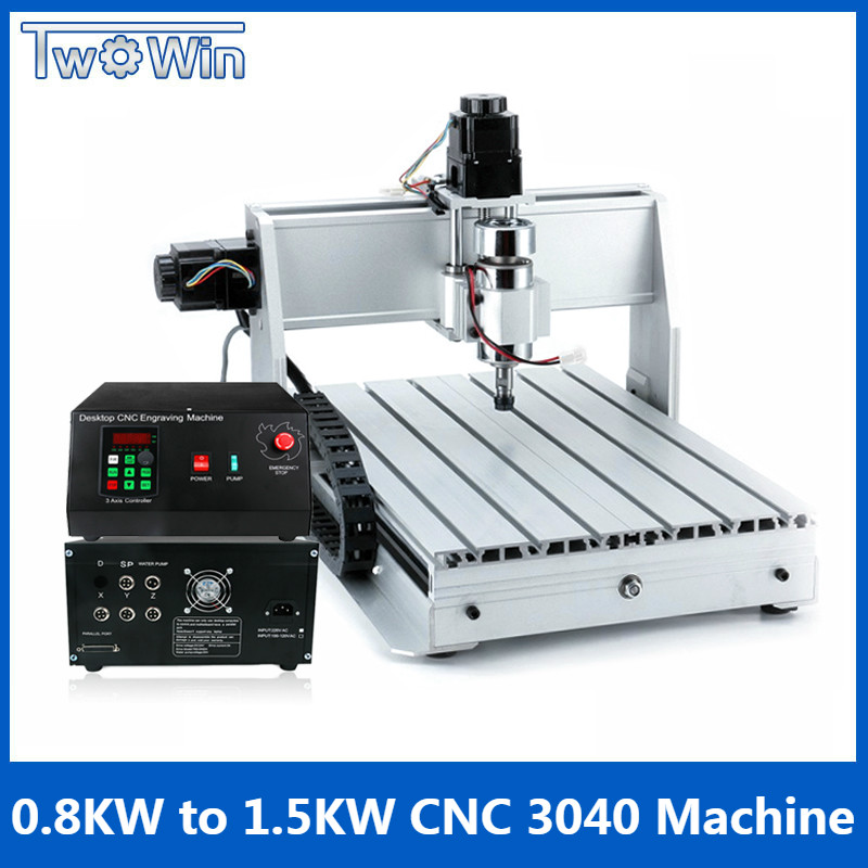 1.5KW Three-axis Ball screw CNC Router Four-axis Engraver Engraving Milling Drilling Cutting Machine CNC 3040 new arrival 5 axis cnc machine pillar cnc 3040 engraving machine ball screw table column type woodworking cnc router lathe