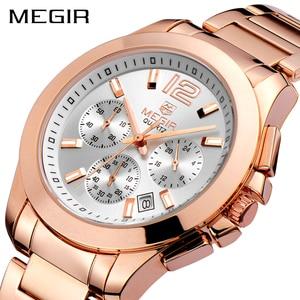 Image 4 - MEGIR מקורי גברים שעון נירוסטה עסקים קוורץ שעונים לוח שנה שעון יד שעון גברים Relogio Masculino