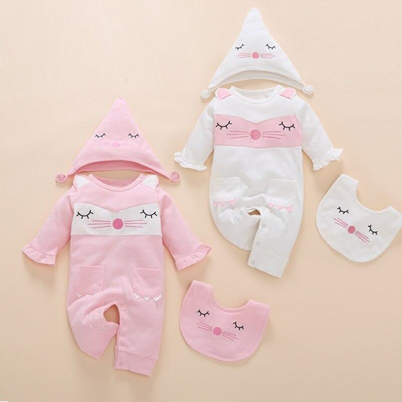 2017 moda 3 pcs recém-nascido roupas de bebê bordado dos desenhos animados gêmeos outono crianças infantil baby girl romper 0 conjunto