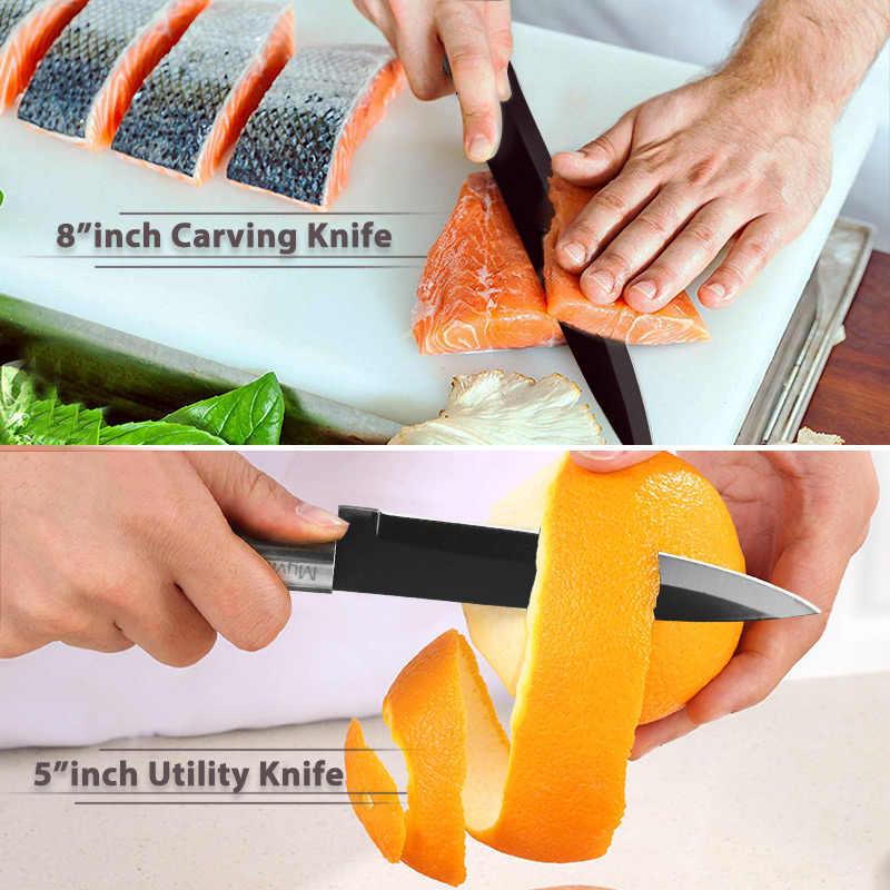 Cuchillo de cocina de 3,5 ''5'' 7 ''8'' Chef 7CR17 440C, antiadherente, rebanador de pan de acero inoxidable negro, juego de 6 cuchillos Santoku de utilidad