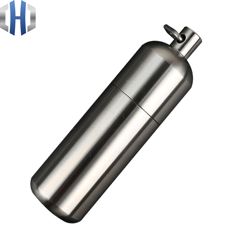 CNC Stainless Steel Waterproof Storage Bin Outdoor Camping Survival Seal Waterproof Tank First Aid Pill Bottle in Outdoor Tools from Sports Entertainment
