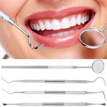 ACEVIVI 4PCS/Set Stainless Steel Clean Tooth Tools Dental Care Scraper Mirror Probe ScalerTools Teeth Whitening Cleaning Kit