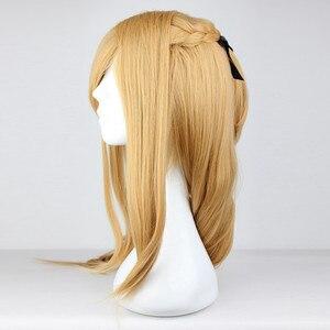 Image 2 - Save Art Online, термостойкий парик для косплея из длинных синих и коричневых волос, парик + шапочка для парика