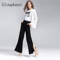 Glouphant 2017 Autumn Cotton Wide Leg Pants Women Split Linen White Side Trouser Women Lady Full