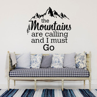 The Mountains Are Calling Quotes Wall Stickers Mountain Chain And Cedar Home Decor Living Room DIY