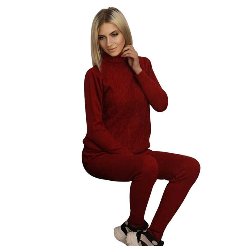 MVGIRLRU woman sweater suits twisted knitted sets turtleneck pull femme and pant two piece outfits Female
