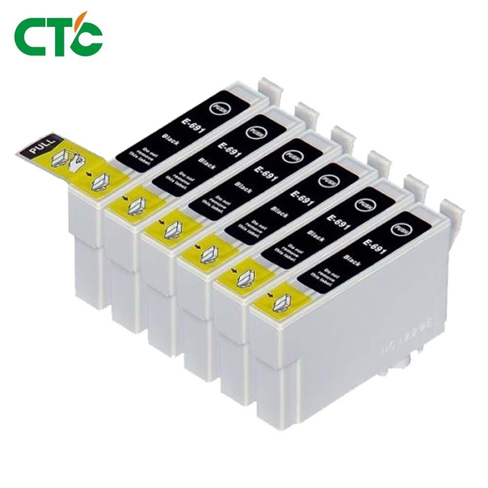 6PK Hi-Yield BK Ink For Epson 68 T0681 69 T0691 Stylus CX500 CX600 CX7400 CX8400