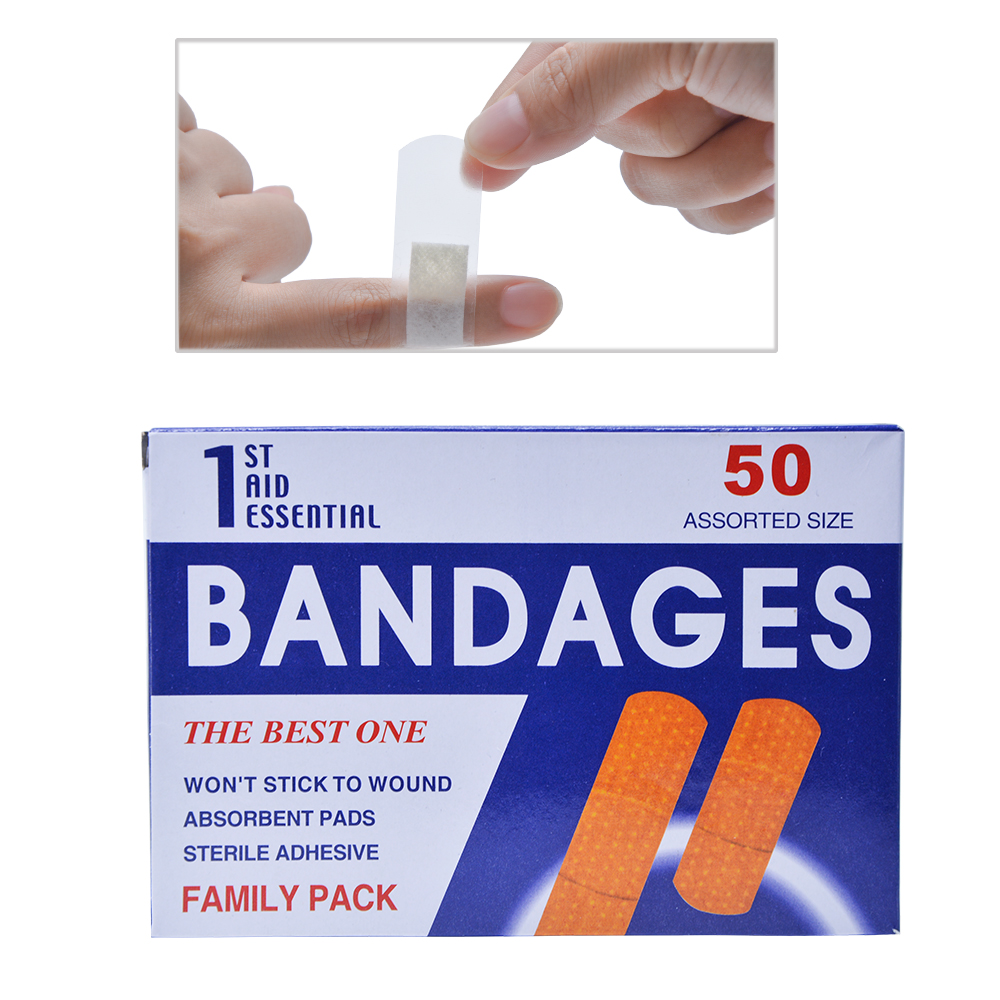 50pcs/Box First Aid Waterproof Breathable Transparent Band Aid For Family Hemostasis Adhesive Bandages First Aid Emergency Kit