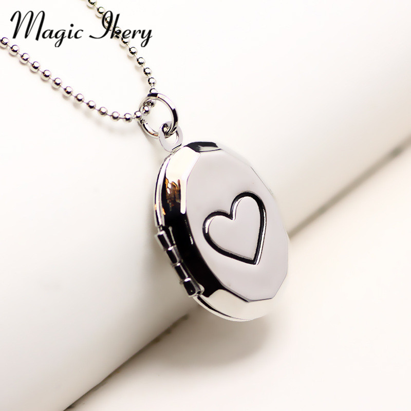 Magic Ikery Round Photo Memory Floating Locket Simple Heart Necklace Fragrance Essential Oil Diffuser For Women 2016 MKA98