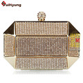 Hot Style Women's Luxury Handbag Full Diamond Metal Case Day Clutches Party Evening Bag Shoulder Messenger Bag Black Gold Silver