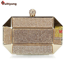Hot Style font b Women s b font Luxury Handbag Full Diamond Metal Case Day Clutches