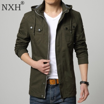NXH 2018 New Arrival Autumn 100%cotton Men's Thin jacket Hooded coat Male Slim fit Casual   Black Blue Army green M-3XL