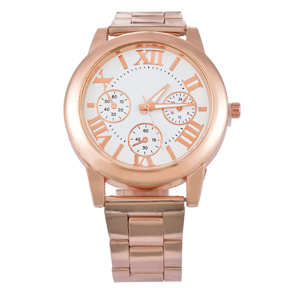 "Doreen Box Steel Women Quartz Wrist Watch Rose Gold Color Roman Numerals Three-eyes Battery Included 22cm(8 5/8"") long, 1 Piece"