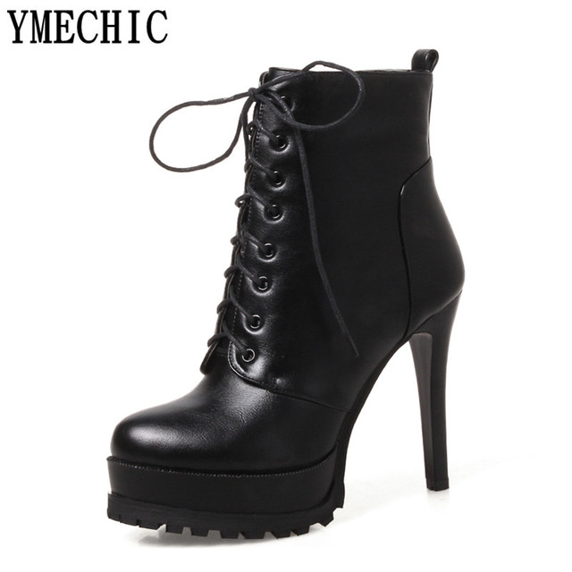YMECHIC High Heel Leather Boots Women Lace Up Platform Gladiator Party Shoes  Woman Thin Thick Heels Lady Ankle Boots Plus Size 7cfa57ed6fed