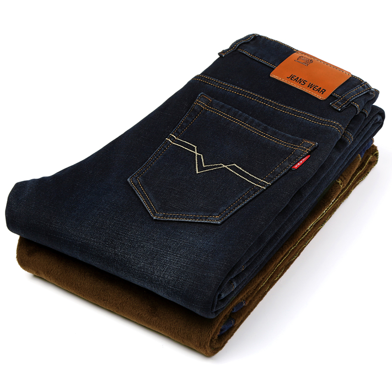 2017 fashion designer brand men jeans denim pants trousers,Autumn and winter with wool warm pants jeans wilt