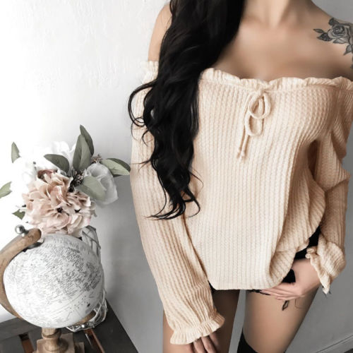 New Ladies Casual Loose Cotton Bowknot Tops Off-shoulder Shirts Blouse Clothes W