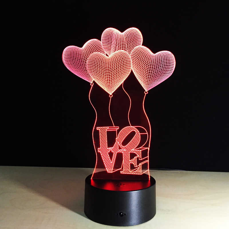Colorful Table Lamp Love Heart Balloon Romantic Gift for Wedding Wife Lovers Valentine  3D Touch Baby Night Table Lamp Drop Ship