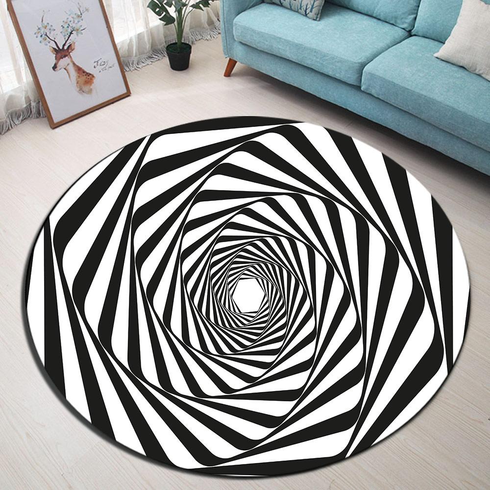 Black White Strip Swirl Round Memory Foam Area Rug And Carpet For Kids Home Living Room Bedroom