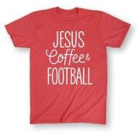 Jesus Coffee Football ADULT SHORT SLEEVE TEE Top Tee For Sale Natural Cotton T Shirts Tops