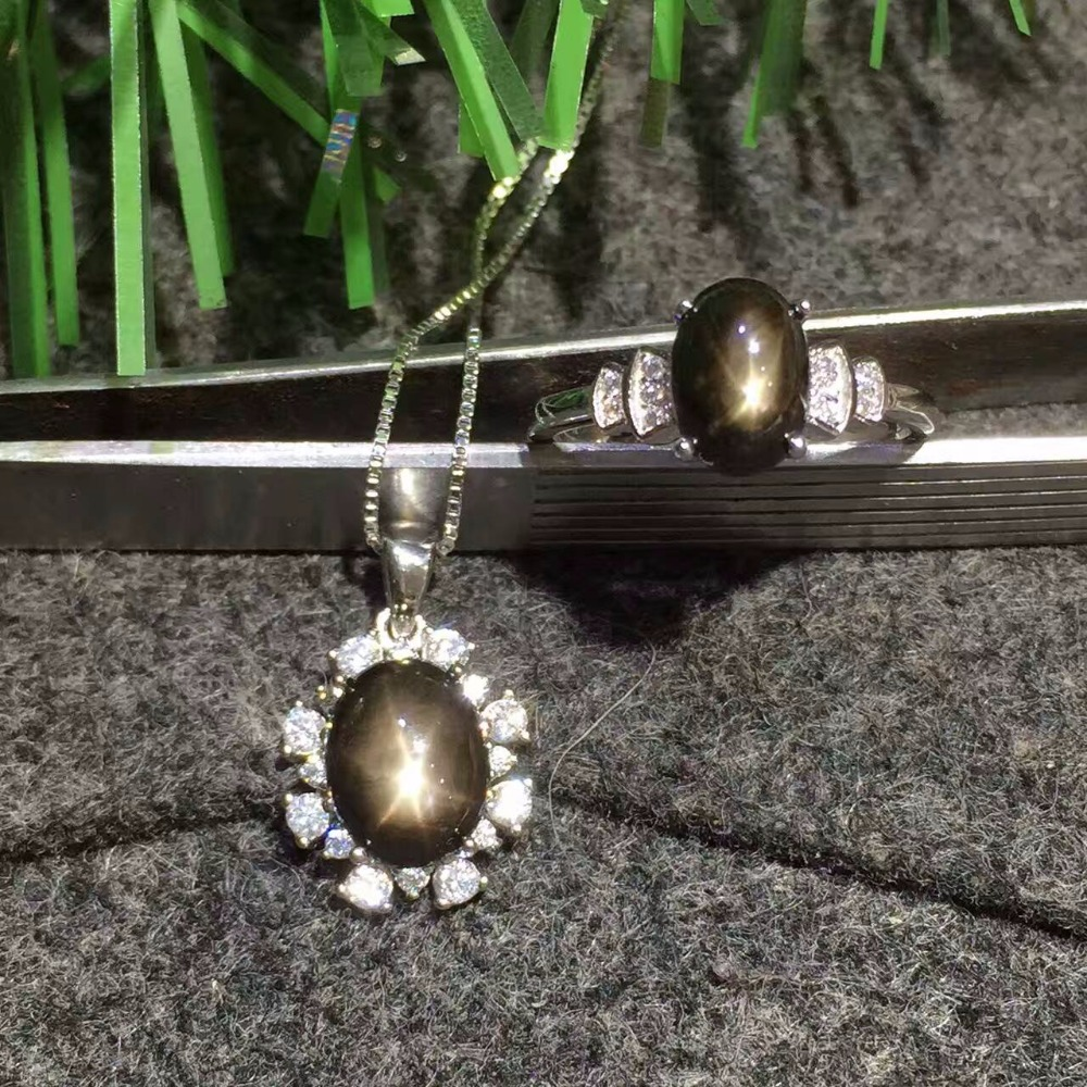 Conjunto de joyas de zafiro con luz de estrella de plata 925 sólido clásico, conjunto de joyas de GEMA de plata con colgante y anillo de zafiro natural - 2