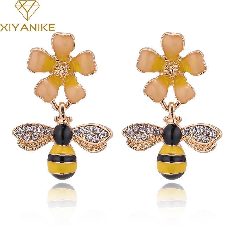 Cute Bee Flower Enamel Dangle Earrings For Women Girl Unique Jewelry Gifts