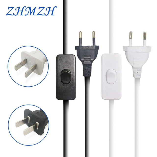 AC Power Cord 1.8m on-off Switch Plug Wire Two-pin EU Plug Cable Extension Cords US Type Adapter Black White Line For LED lamp