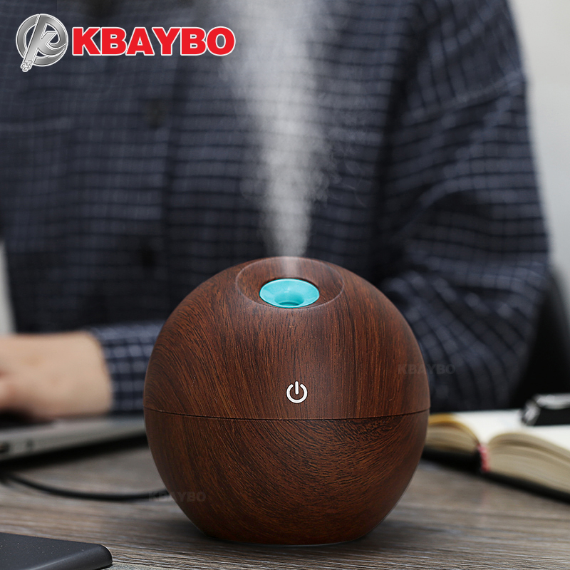 130ml USB Aroma Essential Oil Diffuser Ultrasonic Mist Humidifier Air Purifier 7 Color Change LED Night light for Office Home
