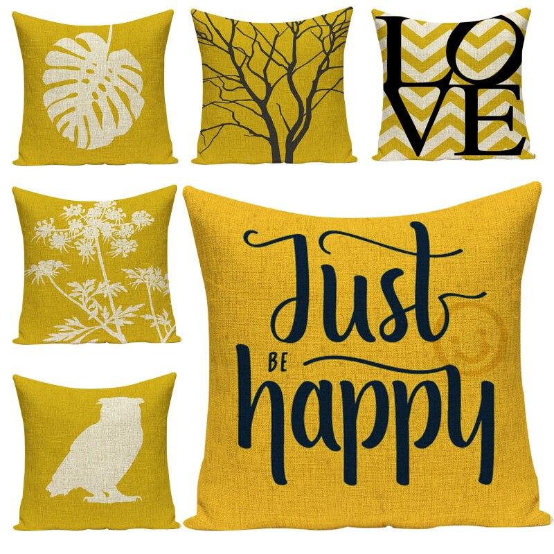 Mustard yellow pillow case 45*45 cushion family cafe sofa upholstery custom pillow case linen-cotton alphabet style car cushion